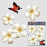 Frangipani Plumeria Kleine weiße Doppel Blume + Schmetterling Tier Pack Auto Aufkleber - ST00024WT_SML - JAS Aufkleber