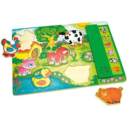 Bino 88105 - Puzzle Animali Legno con Suono