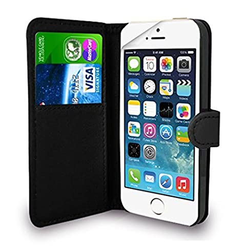 iPhone SE 5 5S Case Black Premium Leather Flip Wallet Case Cover Pouch For iPhone SE 5 / 5S and Screen Protector With Polishing Cloth And