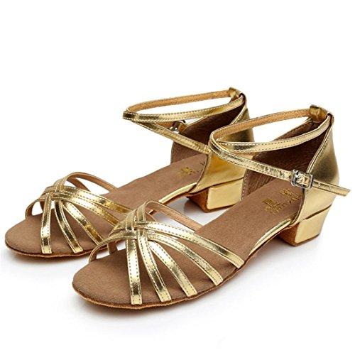 Wxmddn Ballo latino oro scarpe scarpe da ballo figli adulti morbido esercizio di suole di calzature scarpe da ballo quattro stagioni Oro