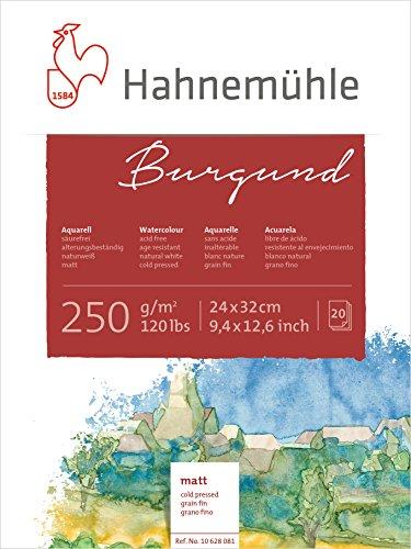 Hahnemühle Aquarellkarton Burgund, matt, 250 g/m², 24 x 32 cm, 20 Blatt