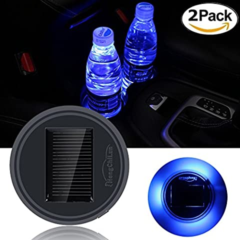 Car Accessories Cup Holder Pad Solar Sensor LED Car Interior Decoration Atmosphere Lights Waterproof Drink Coaster for All Cars (2 Pack)