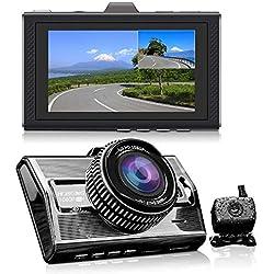 Deux Caméras Avant et Arrière Pleine HD 1080P Devant 170 ° Voiture Caméra Grand Angle et Vision Nocturne G-Sensor Derrière 140 ° Soutien 128GB ADAS