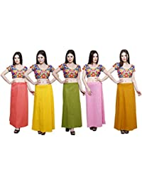 Pistaa combo of 5 Women's Cotton Best Ethnic Indian Solid Readymade Inskirt Saree petticoats