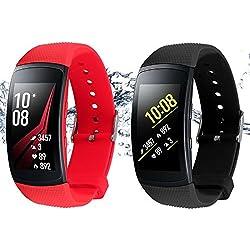 """Rukoy Courroies pour Samsung Gear Fit 2 Bande/Gear Fit 2 Pro [Paquet de 2: Noir + Rouge], Bandes de remplacement pour Samsung Gear Fit2 Pro SM-R365/Gear Fit2 SM-R360 SmartWatch (5.9""""-7.5"""")"""