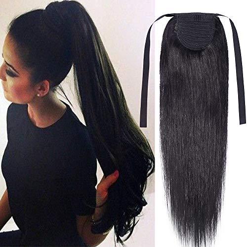 Extension coda di cavallo capelli veri clip ponytail parrucchino lisci lunghi umani lunga 20