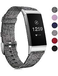 HUMENN Armband für Fitbit Charge 3 Woven Armbänd, Ersatzband Gewebte Stoff Armbands Zubehör Sport Armbänder für Fitbit Charge 3, Klein Groß