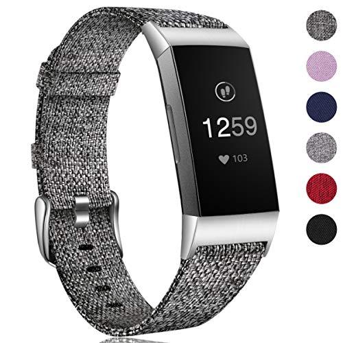 HUMENN Armband für Fitbit Charge 3 Woven Armbänd, Ersatzband Gewebte Stoff Armbands Zubehör Sport Armbänder für Fitbit Charge 3, Groß Schwarz Grau