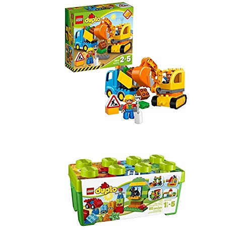 Lego Duplo 10812 - Bagger und Lastwagen, Ideales Geschenk für 2 Jährige + Große Steinebox, Kreatives Lernspielzeug