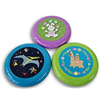 ‏‪Throw and Catch Flying Disc Set Easter Themed 3 Count - Llama, Bunny, Pterodactyl - 9.5 Inch Diameter‬‏