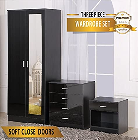 Ossotto Mirrored High Gloss 3 Piece Bedroom Furniture Set - Soft Close Wardrobe, 4 Drawer Chest, Bedside Cabinet