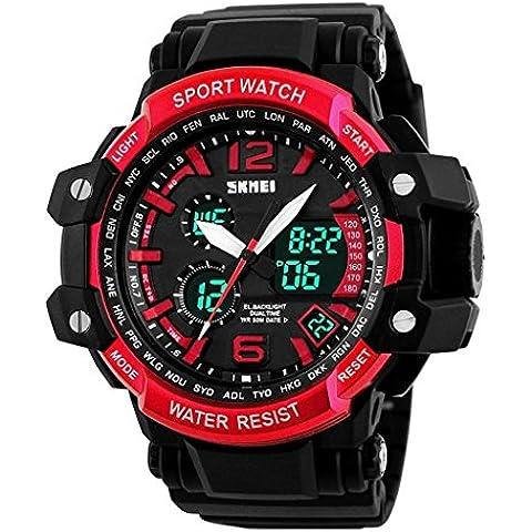 downj Orologio da uomo multifunzione analogico cinturino in resina con display digitale LED Sport impermeabile orologio da polso rosso