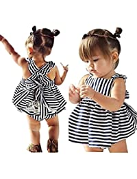 Koly 1set Bebitas Equipo infantil Raya vestido sin espalda