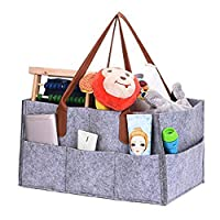 Diaper Organiser, XGZ Nappy Changing Storage Bag Foldable Felt Diaper Caddy Storage Bin for Home Car Travel,with Multi Pockets and Changeable Compartments