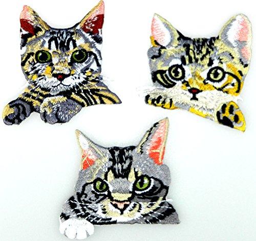 (i-Patch - Patches - 0059 - Katze - Katzen - Katzenkopf - Cat - Aufbügler - Flicken - Aufnäher - Sticker - Badges - Flicken - Bügelbild - DIY - Aufbügler - Iron-on - Applikation - zum aufbügeln)