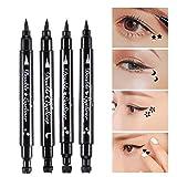 Eyeliner Crayon de Double Tête Tampon en Forme d'Étoiles Lune Fleurs Coeur Étanche Maquillage Outil de Décoration de Longue Durée