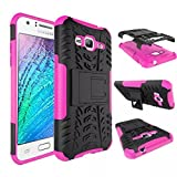 MYTHOLLOGY Galaxy J3 Coque - Samsung Galaxy J3 (2016) J320F Coque - Coque Antichocs Video Béquille Double Couche Protection Etui Housse Cover [Rose]