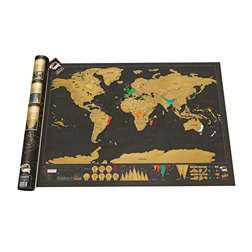 House Of Quirk Traveller'S World Scratch Map Deluxe(32.5 x 23.4 inches)