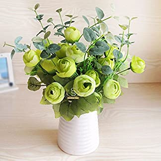 XCZHJ Flores Decorativas Artificiales Florero de Camelia Artificial Cerámica Estilo Rural Verde Los Productos de Flores Incluyen:Flores Artificiales,Flores Artificiales Blancas.