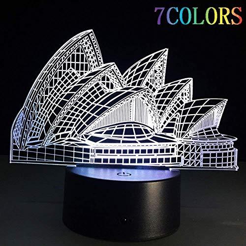 WOZUIMEI Nachtlicht 3D Leuchtende Visuelle Licht 7 Farbwechsel USB Batteriebetriebene Touch/Touch Touch Schreibtisch Konsole Lampe Schönes Geschenk Wohnkultur, Opernhaus in Sydney