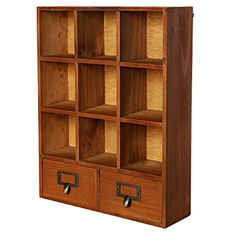 Vintage Freestanding / Wall Mounted Wooden Display Shelves w/ 2 Drawers Storage Shadow Box - MyGift