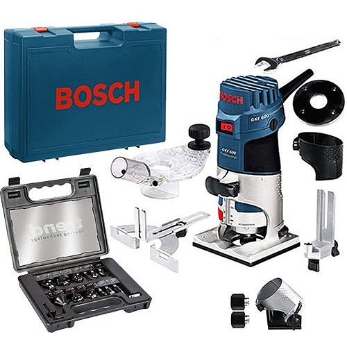 "Bosch GKF600 Palm Router Kit And Extra Base 240v + Trend 12 Piece 1/4"" Set"