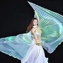 Calcifer® NEUF égyptien égyptienne Belly Dance Ailes d'Isis Costume d'ailes Cadeau pour Big fête de Noël (Multicolore et blanc transparent)