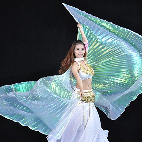 Calcifer® Marke neue Ägyptische Ägypten Belly Dance Flügel Isis Flügel Kostüm Geschenk für Big Party Weihnachten (Multicolor & Transparent Weiß) (Isis Mädchen Kostüm)