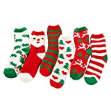 Comfysail Damen 6er Pack Flauschige Kuschelsocken Weihnachtssocken Weihnachtsmotiv Socken aus Korallen Winter Größe 35-42