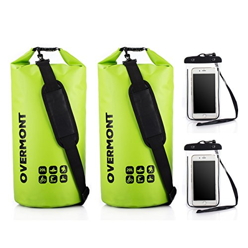 Overmont 2pics de 20L Bolsa impermeable 500D PVC para gimnasio playa natación camping senderismo surf piscina esquí deporte al aire libre color negro/azul/naranja/verde+ bolsa impermeable para movil de 5.5 pulgadas como regalo