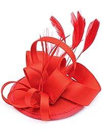 CLOCOLOR Sombrero Tocado fascinator de pelo con pluma de moda Clips sombreros Adornos de Pelo para mujer Accesorios del pelo nupciales fiesta boda
