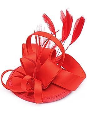 CLOCOLOR Sombrero Tocado fascinator de pelo con pluma de moda Clips sombreros Adornos de Pelo para mujer Accesorios...