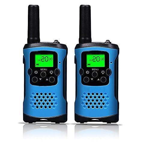 Talkie Walkie, 462–467MHz Walky Talky et longue portée radio VA et vient avec un mini lampe torche LED pour enfants et les activités d'extérieur Noir (1Paire)