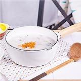 XiangYan Manico in legno piatto di cibo di smalto bambino, si può cucinare il latte e la pasta, si applicano a cottura a induzione, bianco, 18 cm