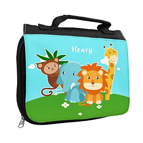 Kulturbeutel mit Namen Henry und Motiv mit Zoo-Tieren für Jungen | Kulturtasche mit Vornamen | Waschtasche für Kinder