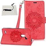 LG G3 LG G3 hülle, TOCASO Wallet Flip Case LG G3 Luxury Schutzhülle LG G3 Leder Blume Wallet Case LG G3 Tasche Leder schwarzer Stift -Rot