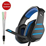PowerLead PC Gaming Headset, 7.1 Kanal Surround Stereo Noise Cancelling LED-Licht USB über Ohr mit Mikrofon verdrahtet