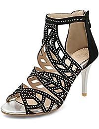 Onfly Mujer Dedo del pie puntiagudo Peep Toe Tacones altos Sandalias Hueco Tirantes de tobillo cremallera Estilete Zapatos romano Sandalias Talla grande 33-43 , black , 39