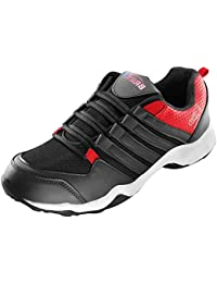 BRiiX Men Black And Red Mesh Sports Running/Walking/Training And Gym Shoes