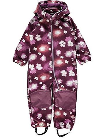 Name it 13138273 Nitalfa Softshell Anzug Overall Regenanzug Violett Blumen Allwetter aus als Überziehanzug Gr.