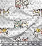 Soimoi Blanco terciopelo Tela punto, el corazón y la lechuza pajaro estampada de tela por metro 58 Pulgadas de ancho
