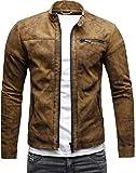 CRONE Epic Herren Lederjacke Cleane Leichte Basic Jacke aus weichem Schafs-Leder (XXL, Vintage Braun (Wildleder))
