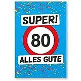 DankeDir! 80 Alles Gute - Kunststoff Schild (Blau), Geschenk 80. Geburtstag, Geschenkidee Geburtstagsgeschenk Achtzigsten, Geburtstagsdeko/Partydeko / Party Zubehör/Geburtstagskarte