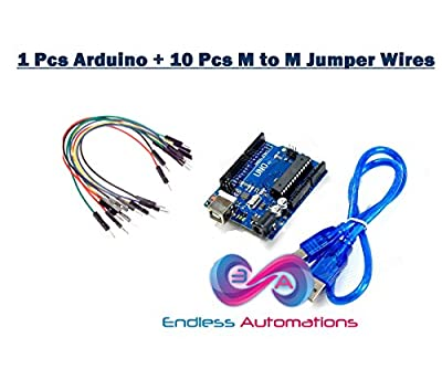 Endless Automations Arduino UNO R3 Compatible Board with Cable for all embedded projects, science projects + 10 Pcs of Male to Male Jumper Wires