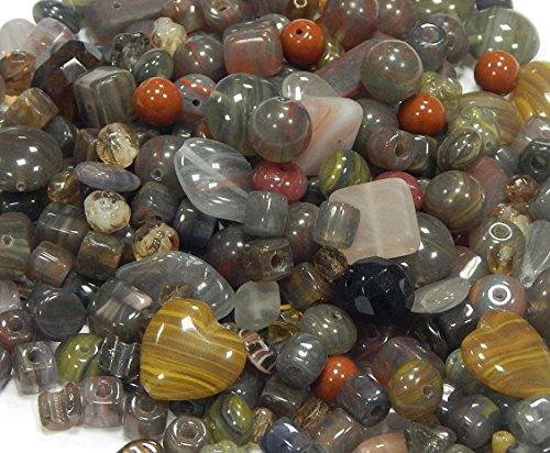 Boehmisches Glasperlen Grau Schwarz ** DUNKEL FARBE EDEL MIX ** Gefrostete, Matt, Schimmer, Kristall, PRECIOSA TSCHECHISCHE Kristall Perlen Set, Basteln Schmuck set 8mm - 20mm CZ474 (50) -