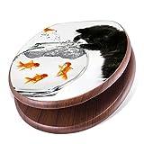 banjado Design Toilettensitz mit Absenkautomatik, WC-Sitz Holz, Klodeckel mit Metall Scharnieren, Toilettendeckel mit Motiv Katze und Fisch