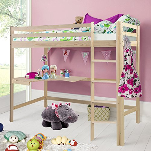 Costway Wooden Cabin Bed Pine Solid Bunk High Sleeper Triple Bed With Desk & Ladder (Natural Wood)