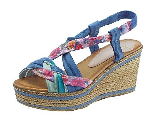 Sandali Mercante di Fiori per donna in pelle multicolore zeppa media (Taglia 39)