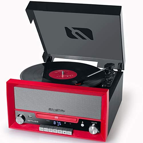 Muse MT-110 B Retro Stereo-Anlage mit Plattenspieler, Bluetooth, CD-Player und Radio mit USB für Wiedergabe und Aufnahme, rot