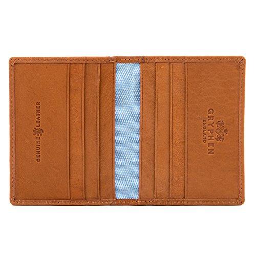 Porte-cartes de crédit en cuir Hoxton, deux plis. Par Gryphen. - marron -